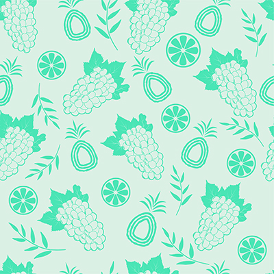Seamless fruit pattern - grapes, pineapple and orange slices