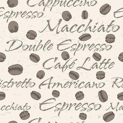 Coffee bean repeating seamless pattern
