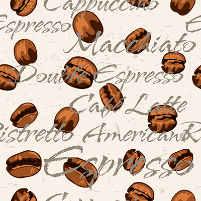Coffee bean repeating pattern on cream background