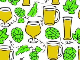 Beer  & Hops seemless pattern design