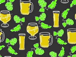 Craft beer glasses repeating pattern with hops