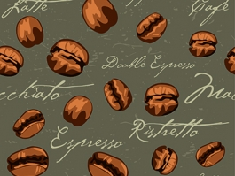 Coffee bean repeating pattern on dark brown